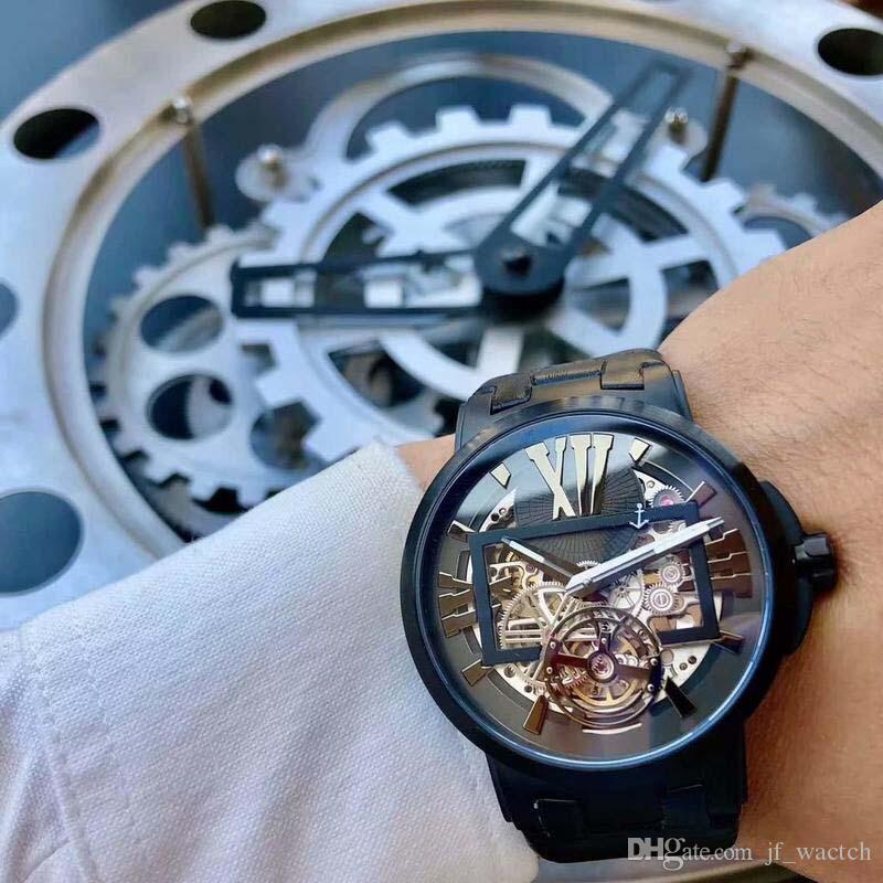 Mechanische Luxus-Armbanduhr Schädel Bewegung Art und Weise der beiläufigen Männer Uhren China Edelstahl Luxus Wahl mechanische Uhr