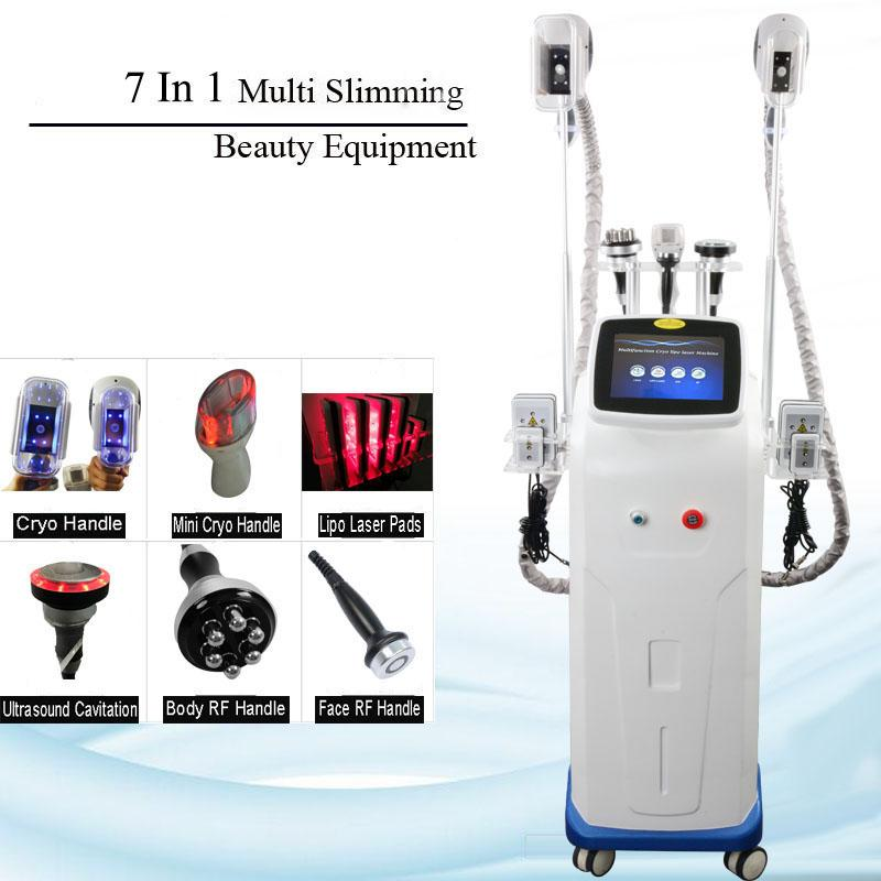 Máquina con congelación de grasa Cavitación ultrasónica RF adelgazante cara de pie Máquina de adelgazamiento Lipo láser 2 asas de congelación de grasa trabajan juntos