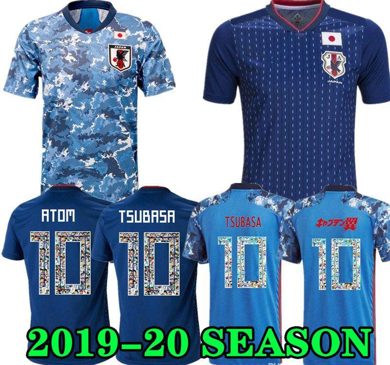2019 2020 Japan Fussball Jersey Kapitän Tsubasa Japan Haus blau Soccer-Hemd # 10 Atom 19 20 Fußball Uniform Top Qualität