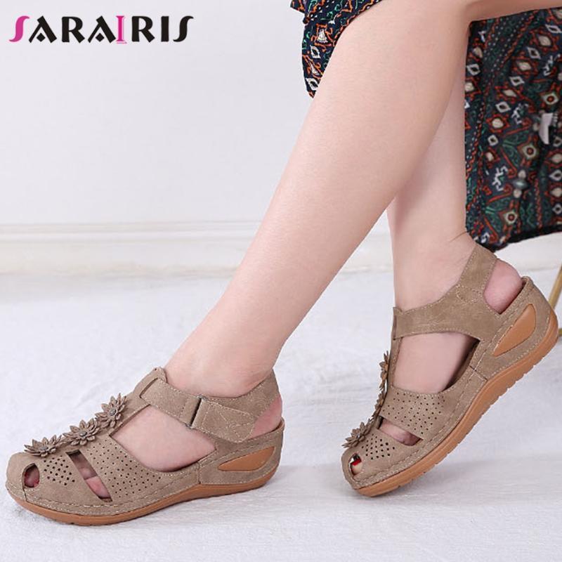 SARAIRIS Bayanlar Konfor Yaz takozlar Sandalet Şık Özlü Platformu Sandalet Kadınlar Moda Aplikler Gladyatör Ayakkabı Kadın