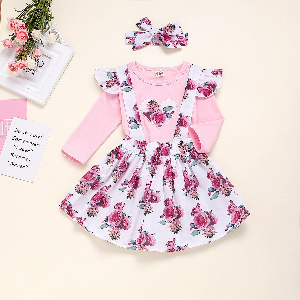 Bebek Çocuk Çocuk Giyim Seti 2020 bahar kız Çiçek Elbise Uzun Kollu + Tutu Etek Bluzlar