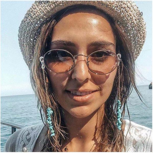 Gözlükler zincir turkuaz taş çekicilik metal zincir altın rengi kaplamalı silikon döngüler güneş gözlüğü aksesuar kadınlar hediye hediyelik eşya mağazası iyi
