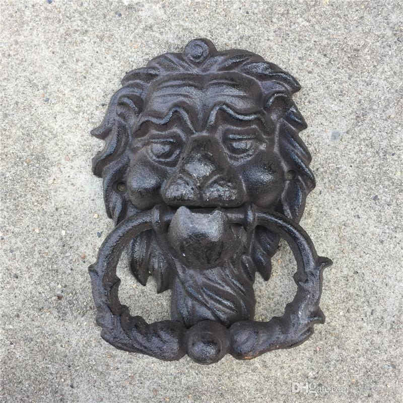 Cast Iron Small Lion Face Vintage Brown Door Knocker