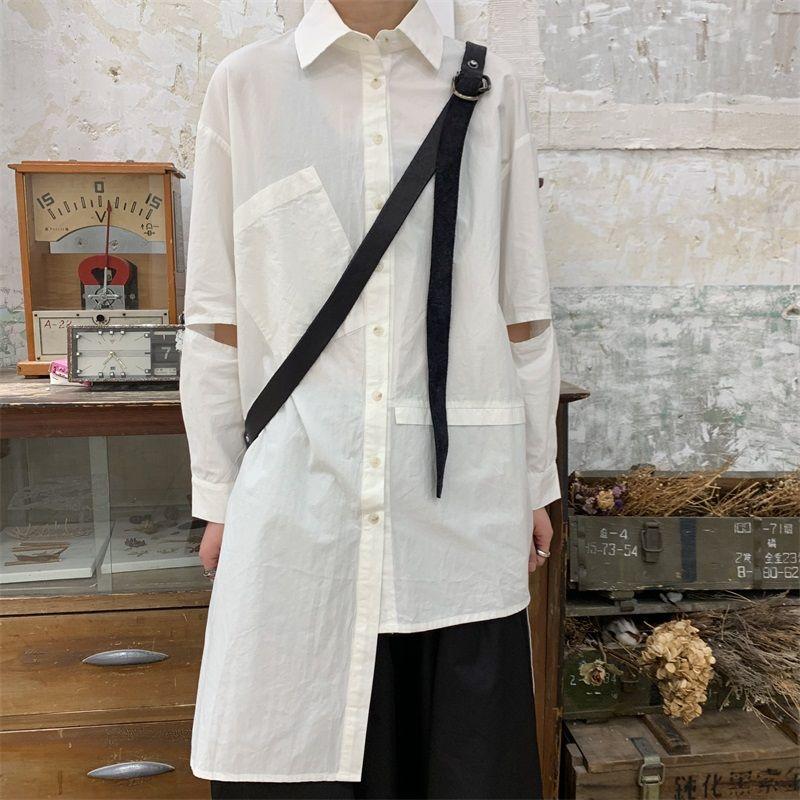 Homens personalizados na moda da moda frontal dos novos homens novos e brancos Longo irregular e camisa curta nova camisa SDKDS