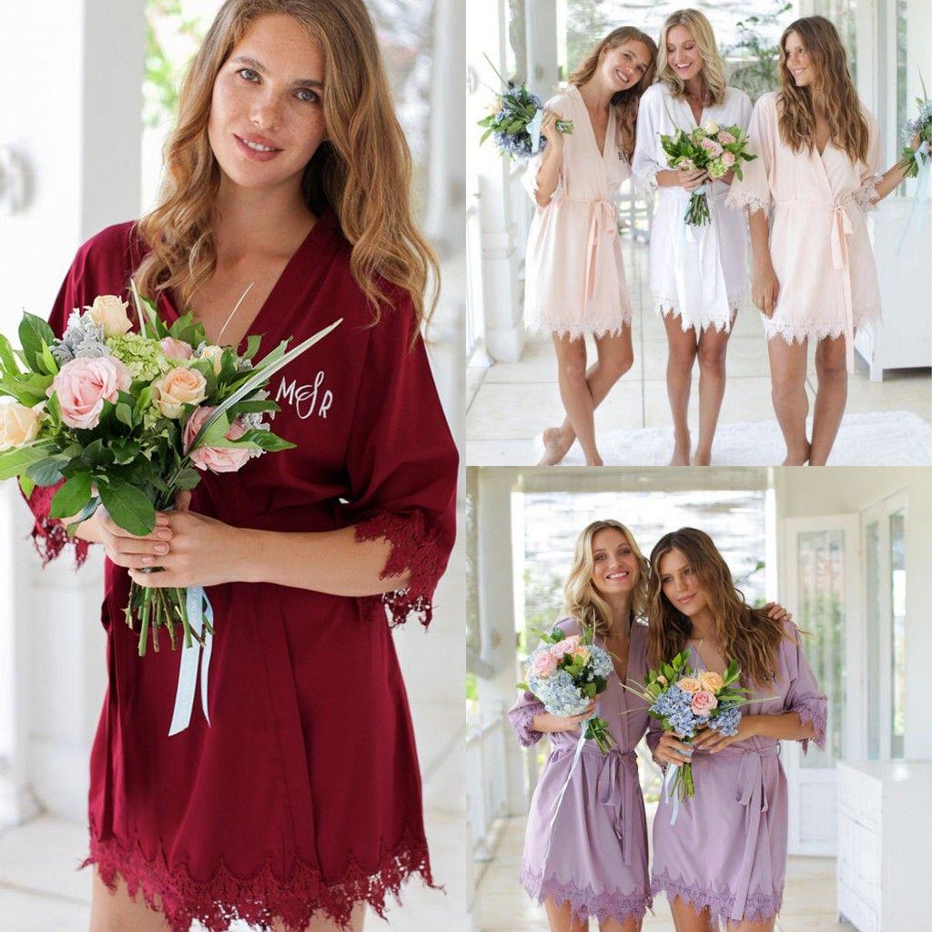 Ucuz İpek Saten Düğün Elbiseler Kişiselleştirilmiş Glitter Kısa Bornoz nedime pijamalar Kimono Uzun Pijama Yaz Gecesi Lady Robes yazdır