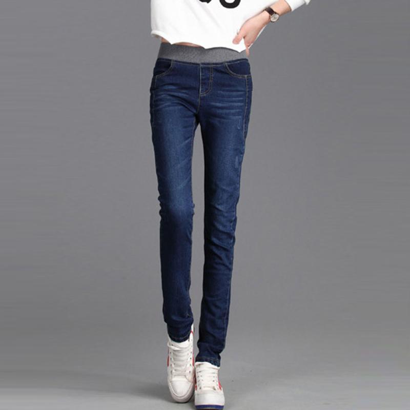 Женские джинсы теплые зима для женщин с флисовой высокой талией тощая женская джинсовая ткань плюс размер растягивает бархатные штаны # 4