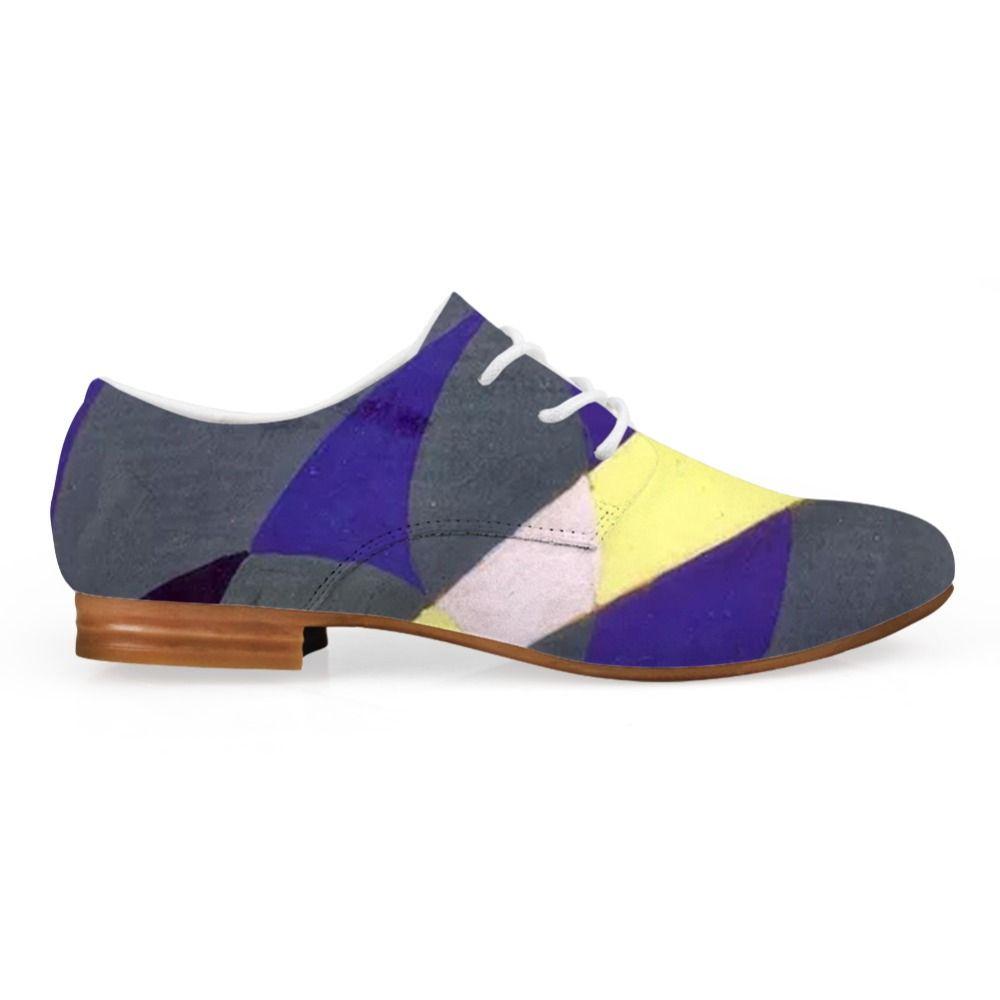 D'origine synthétique Loisirs cuir Chaussures Hommes Casual Couleur mixte Peinture Oxfords Imprimer Art Chaussures Homme lacent plat Giacomo Balla