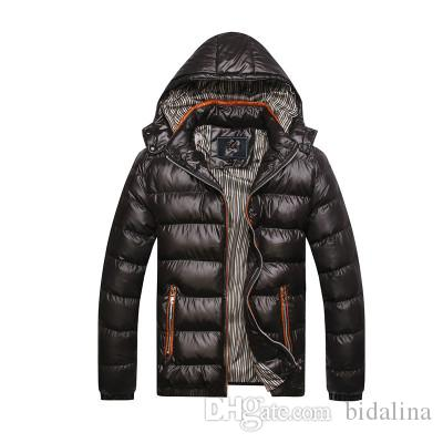 Wholesale- 2017 New Arrival Men Winter Jacket Fashion Hooded Thermal Down Cotton Parkas Male Casual Hoodies Brand Clothing Warm Coat