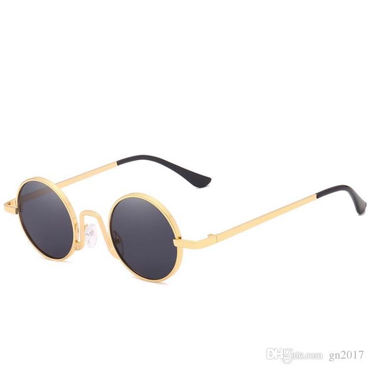 Moda Kişilik Güneş Gözlüğü Kadın Erkek Yuvarlak Güneş Gözlükleri Alaşım Küçük Çerçeve Gözlük Uv Gözlükler Gözlük Adumbral