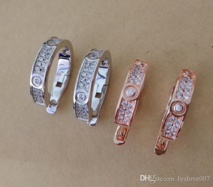 2019 мода из нержавеющей стали C серьги Кристалл для женщин подлинные ювелирные изделия розовое золото / серебро / золото любовь серьги эмаль подарок партии