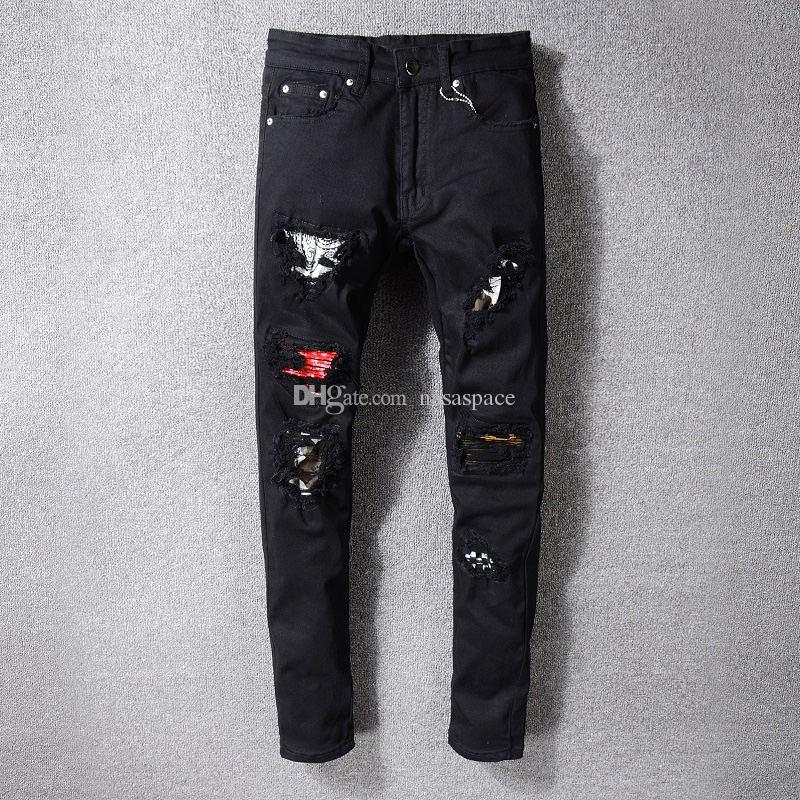Yeni Erkek Stilist Jeans Moda Erkek Hip Hop Ripped Denim Pantolon Sıkıntılı Fermuar Jeans Boyutu: 28-40