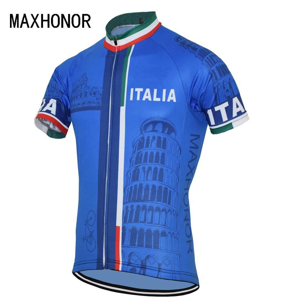 2017 nouvelle arrivée Italia vélo maillot bleu vêtements cycliste à manches courtes hommes gros personnalisés haut de maxhonor