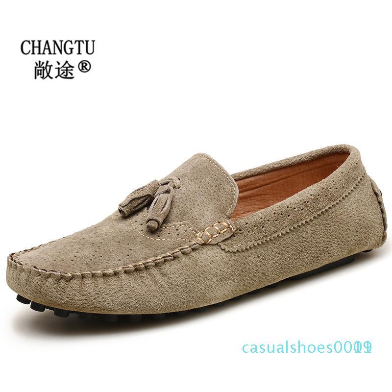 Herrenschuhe echtes Leder Loafers Erwachsener Mokassins Beleg auf beiläufige Schuh-Mode-Weinlese-Wohnungen Herren Driving c19