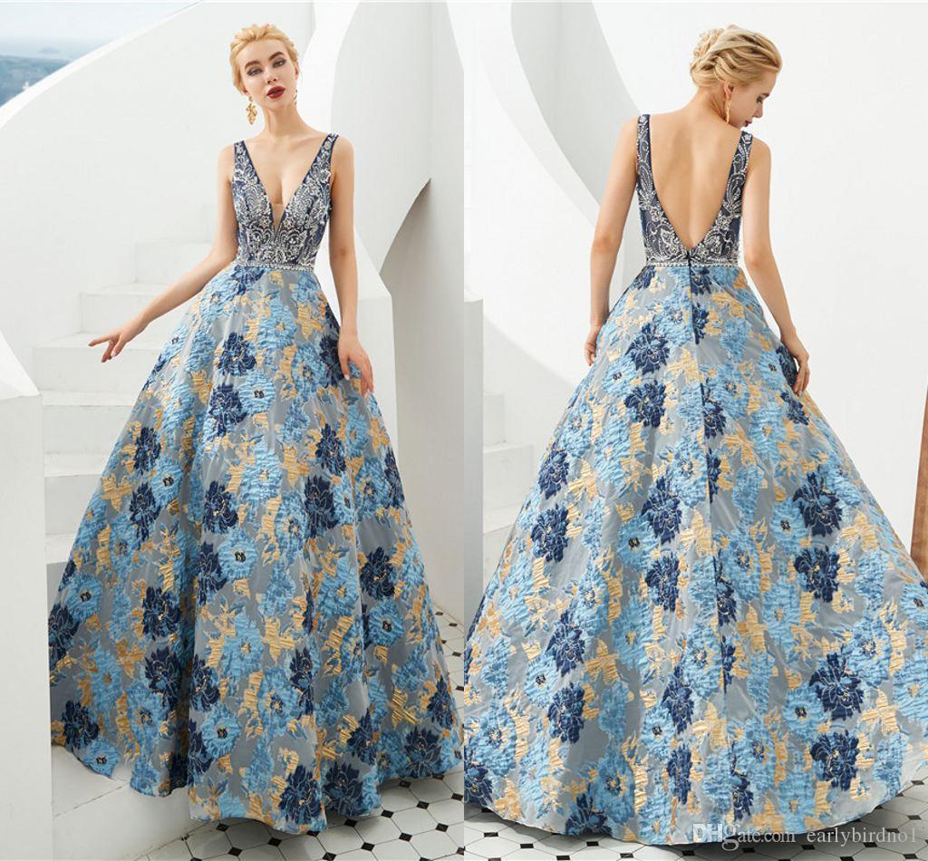 Vintaege Bleu Imprimé Floral Robes De Bal 100% Les Vraies Images Dos Ouvert Robe De Soirée De Luxe Perlée Formelle Parti Pageant Robes CPS1301