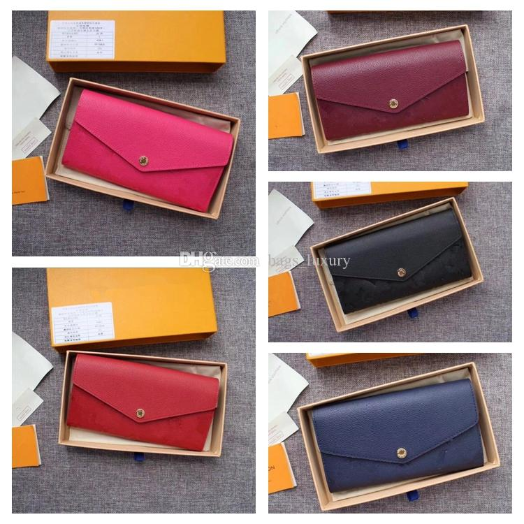 Genuine Leather Wallets Fashion Design Simple Women Wallet Multi-function Embossed Zippy Wallet Cell Phone Pocket Ladies Card Bag