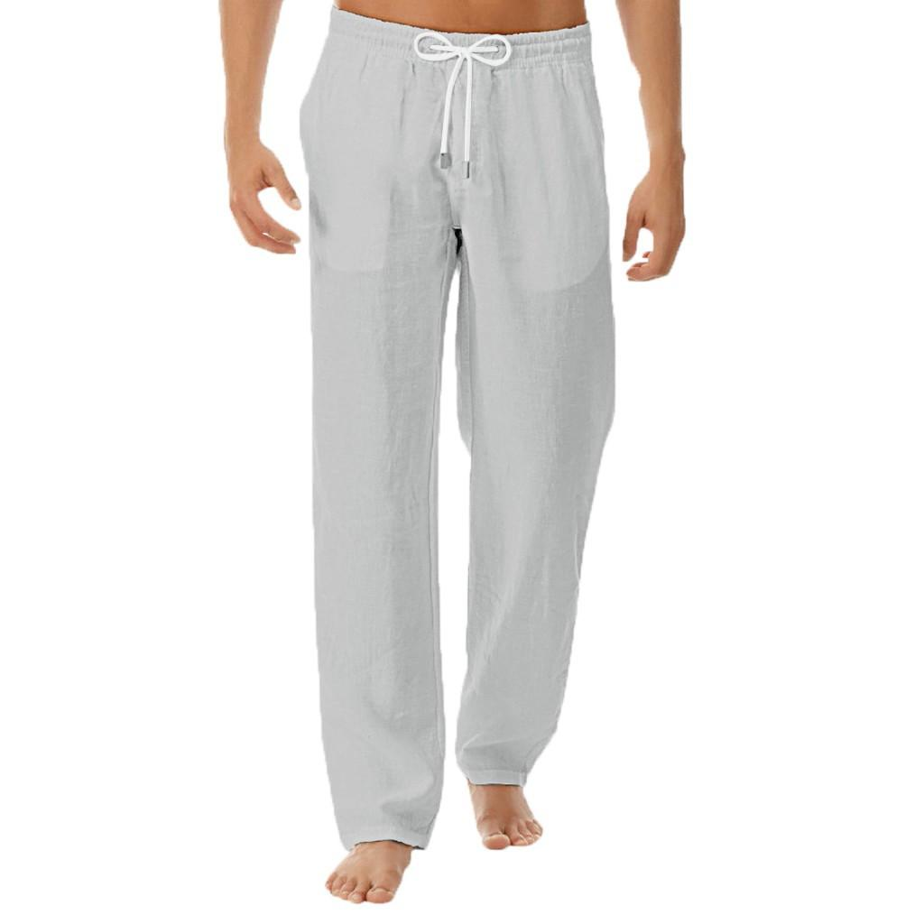 pantalones hombre de moda lençóis de algodão calças homens sólida trabalho ocasional de cintura elástica branca Streetwear calças compridas calças