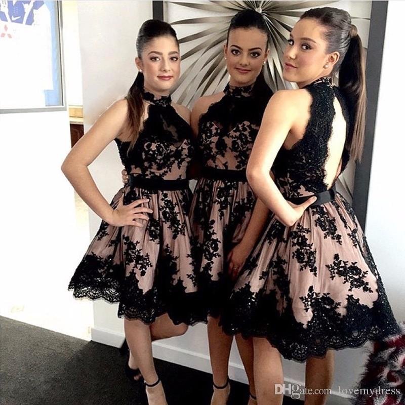 전체 레이스 Appiques와 우아한 블랙 짧은 신부 들러리 드레스는 명예 가운의 하녀 내부의 분홍색을 붉히다 Girls Special Occasion Party Dress