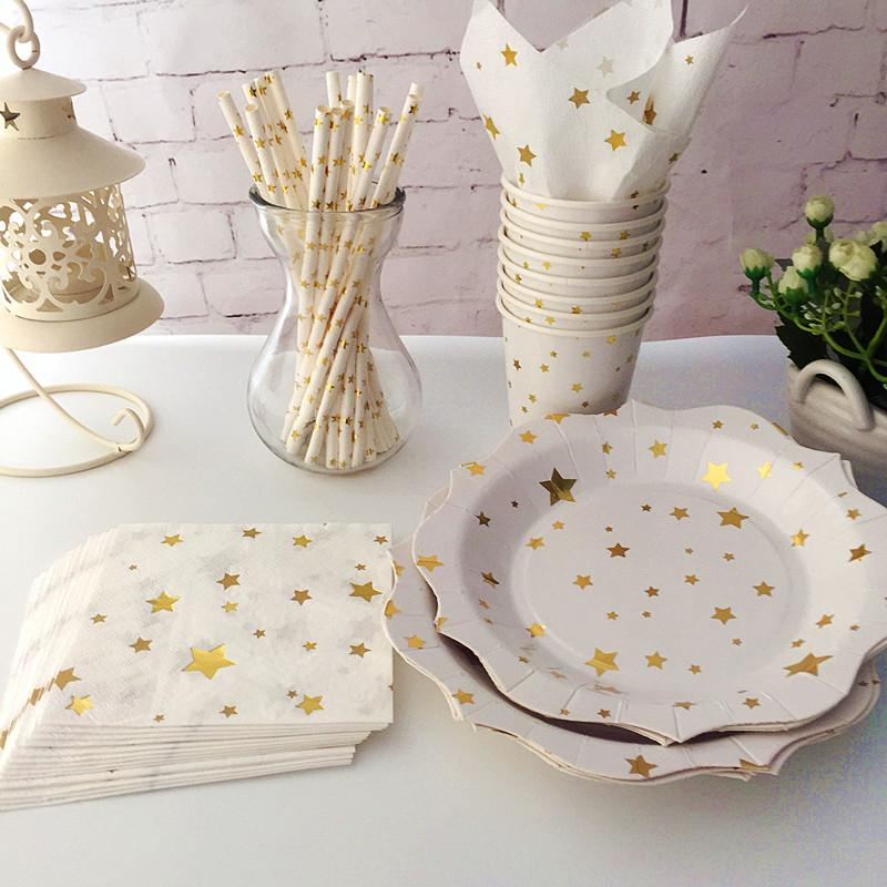 2020 Disposable Tableware Foil Gold Star Paper Plates Cups Napkins Straws Wedding Princess Party Favor From Magicalparty 80 41 Dhgate Com