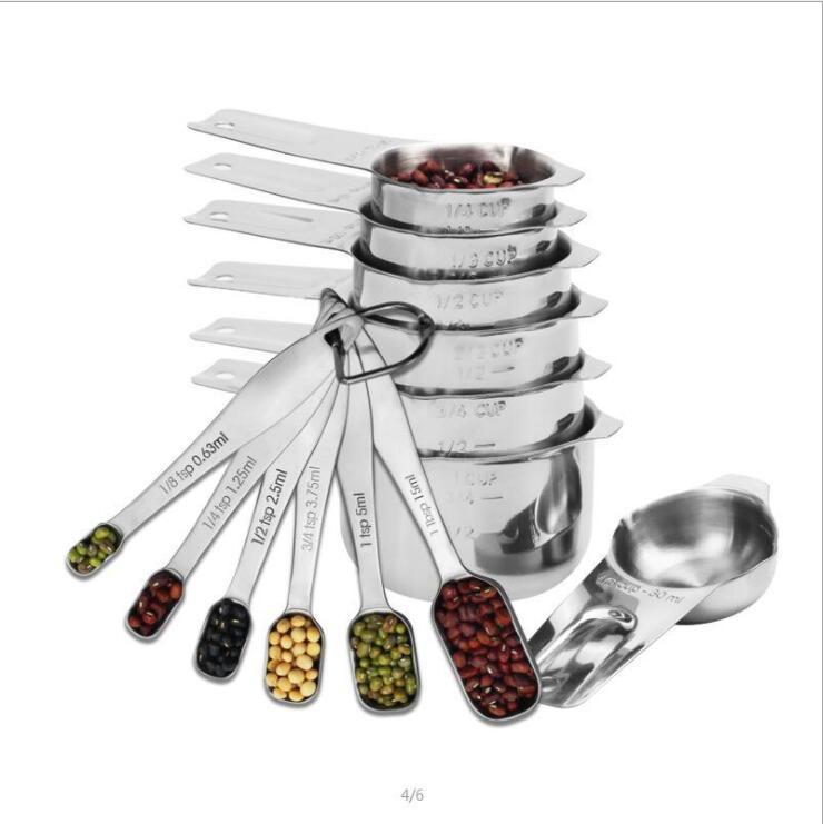 13 علبة مقاييس Cups و الملاعق Set Liquid Measuring Cup or Dry Cup Set Stainless Measuring Cups Nesting Cups Kitchen Bakeware Tools YP570