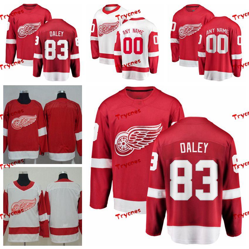2019 Detroit Red Wings Trevor Daley maglie Personalizza Home Red Shirts # 83 Trevor Daley maglie Hockey S-XXXL