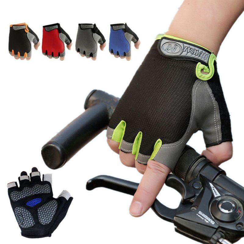 Cycling Anti-Slip Men Women Half Finger Gloves Breathable Mesh Sports Glove F07#