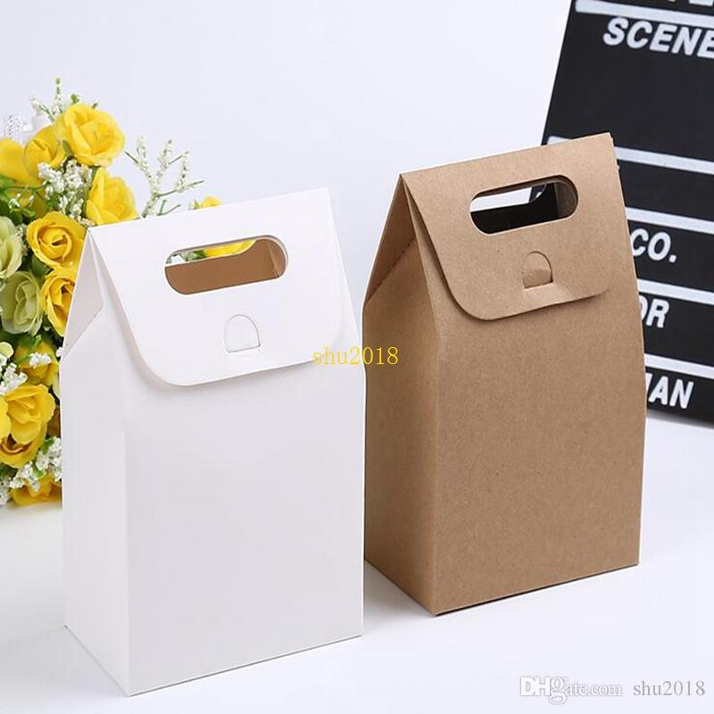 10 * 6 * 16 centímetros presente Kraft Box Artesanato Bag com alça de sabão doces Padaria biscoitos do bolinho de embalagem caixas de papel