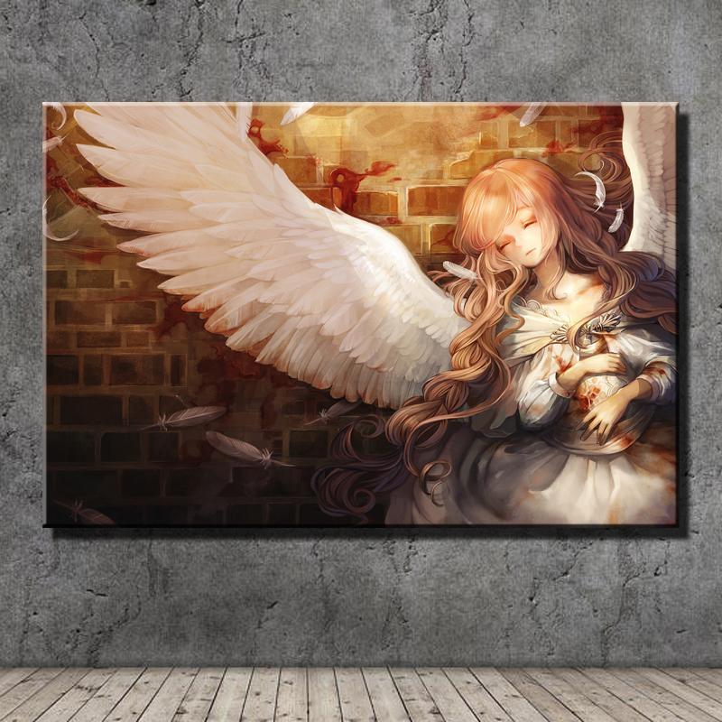 Ángel de cabello castaño y chica anime, Impresión en lienzo HD Nueva decoración del hogar Pintura de arte / (sin marco / enmarcada)