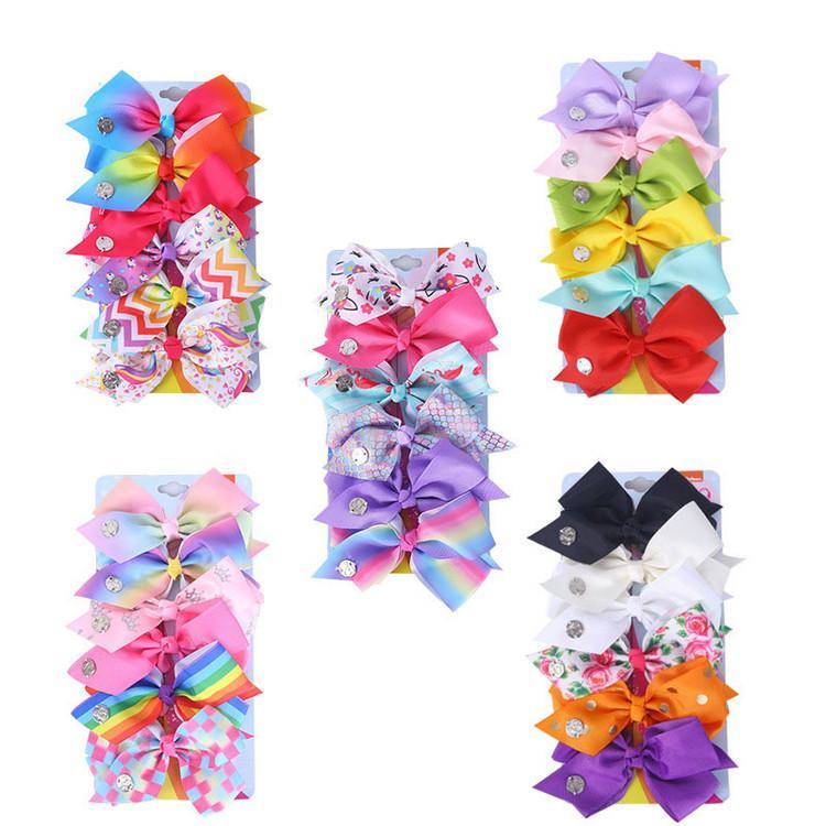 5 Inchs JOJO Siwa Bow 6 Pcs/card Baby Hair Bows Designer Large Girls Hair Clips Kids Hairclips Barrettes Hair Accessories Various Colors