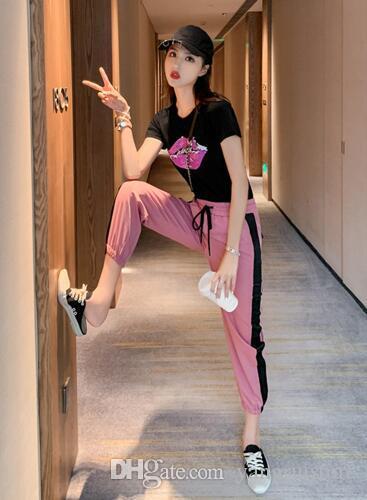 Sportanzüge Frauen Sommer neue koreanische Kurzarm-T-Shirt Casual Pluderhosen