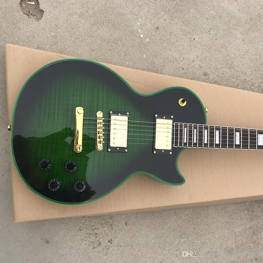 Free shipping! best selling standard custom electric guitar model green color black burst green color logo and binding