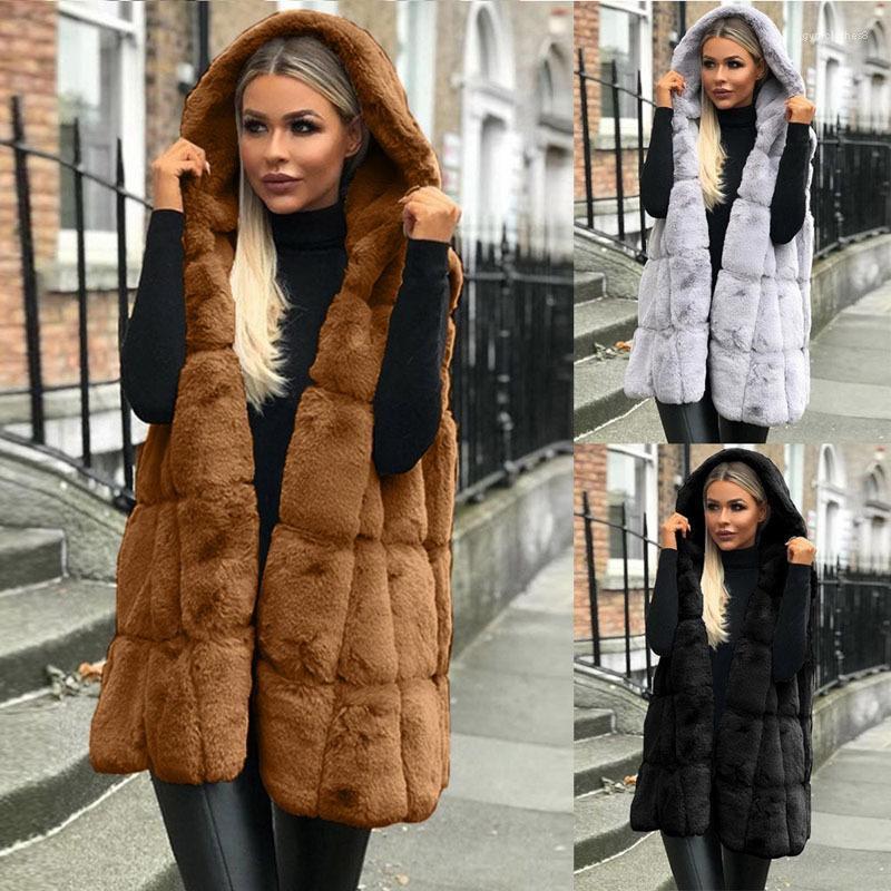 Solide Designer lange Oberbekleidung Frauen Fake Fur-Weste Mäntel Herbst-Winter-Sleeveless mit Kapuze