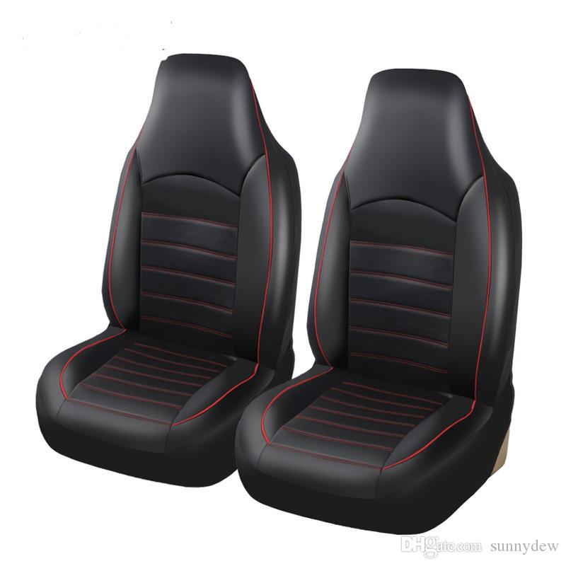 Universal Car Seat Cover Siamese Pu Leather Double Front Seat Covers Fittings Crossovers Sedans Auto Interior Car Accessories Seat Protector