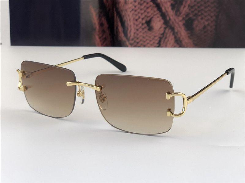 빈티지 선글라스 0104 남자 디자인 작은 프레임없는 사각형 모양 복고풍 안경 UV400 안경 골드 라이트 컬러 렌즈