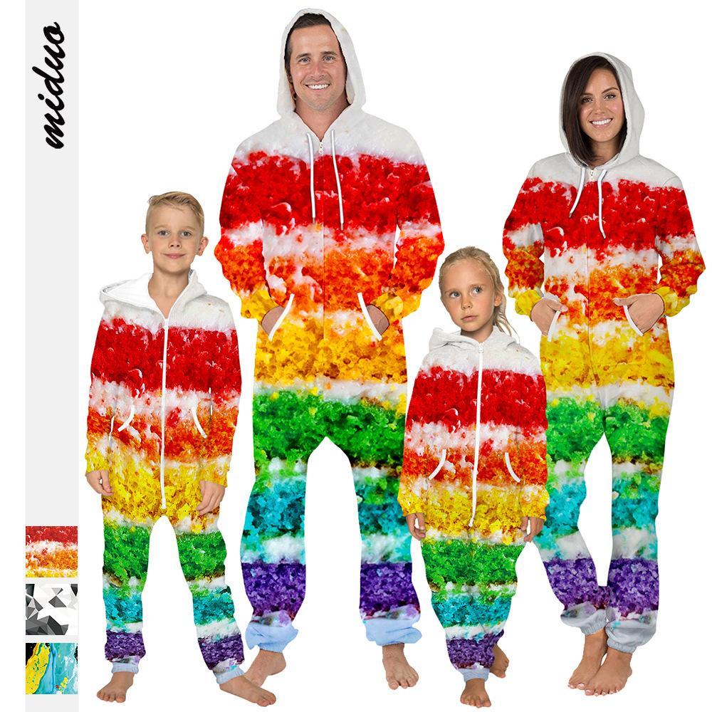 enfant vêtement parent-enfant Costume Galaxy Starry Printed Nightwear Vêtements de protection pour enfants en vrac pour enfants Zippers à capuche Grenouillère LJJK1850