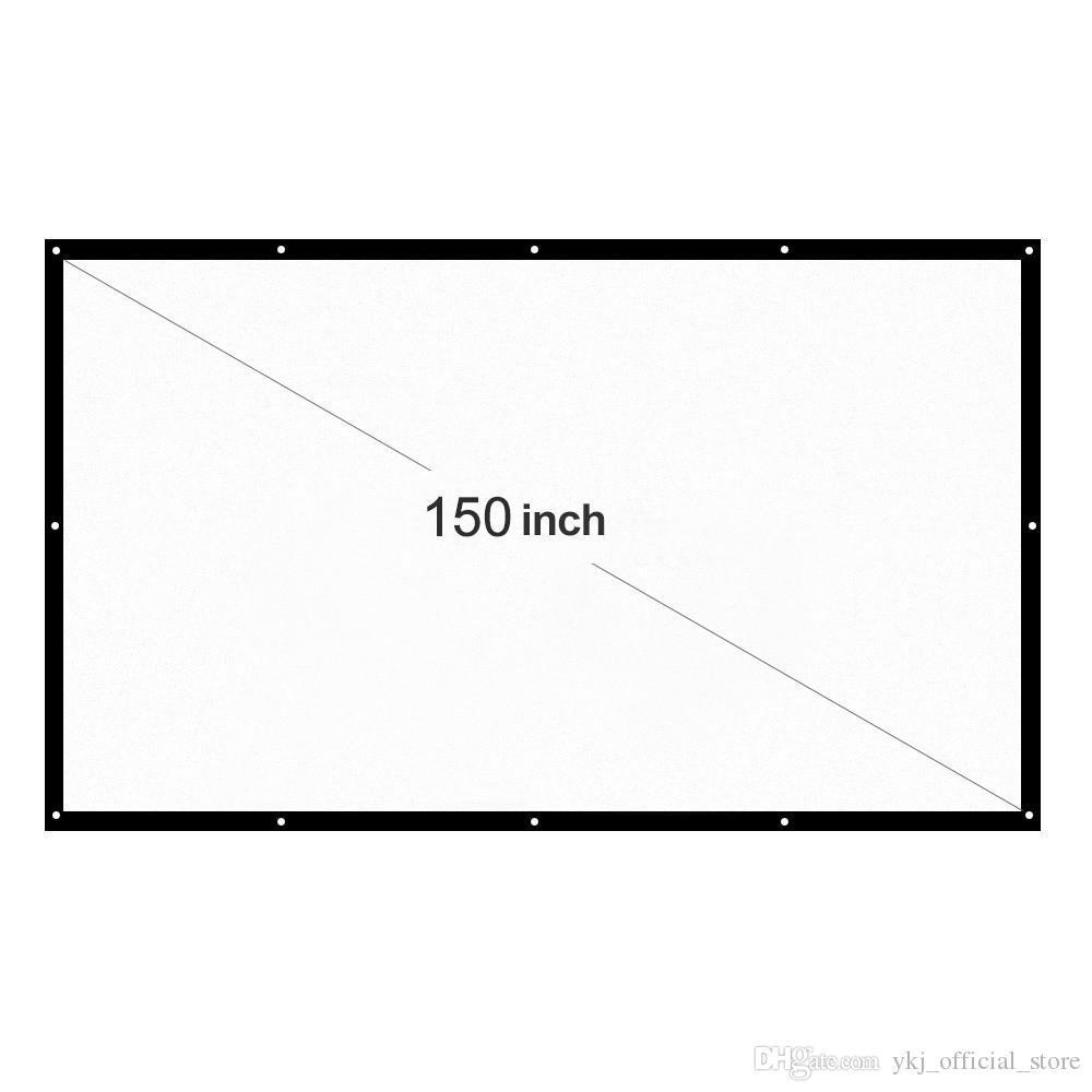 Pantalla de proyector portátil 16: 9 Pantallas de proyección LED blanca plegables de 150 pulgadas para películas de cine en casa montadas en la pared