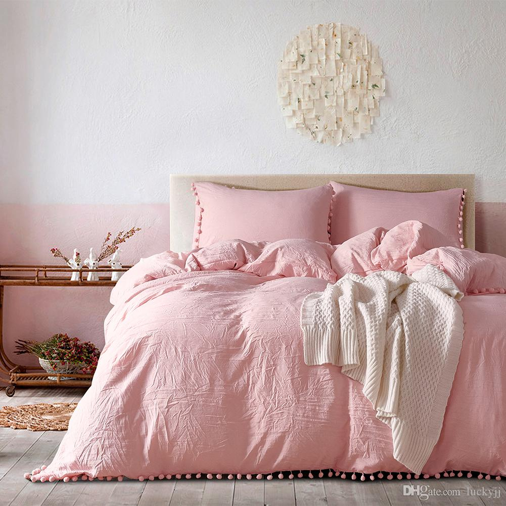 2020 Lucky Home Light Pink Queen Duvet Cover Set Washed ...