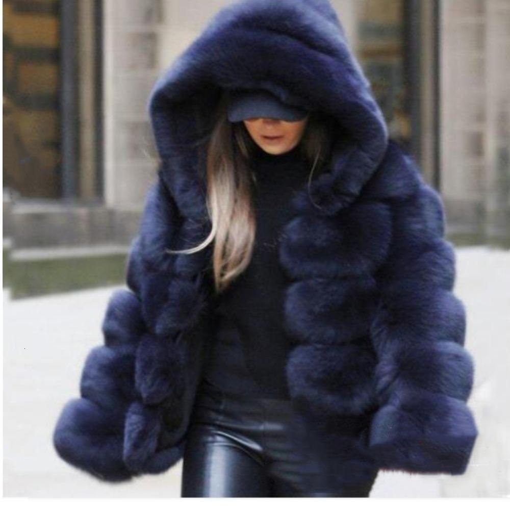 Lisa Colly Moda feminina inverno quente grossa casacos de pele Jaquetas Mulheres longo da luva Faux Fur do revestimento do revestimento de luxo Brasão Fox Fur Outwear SH190924