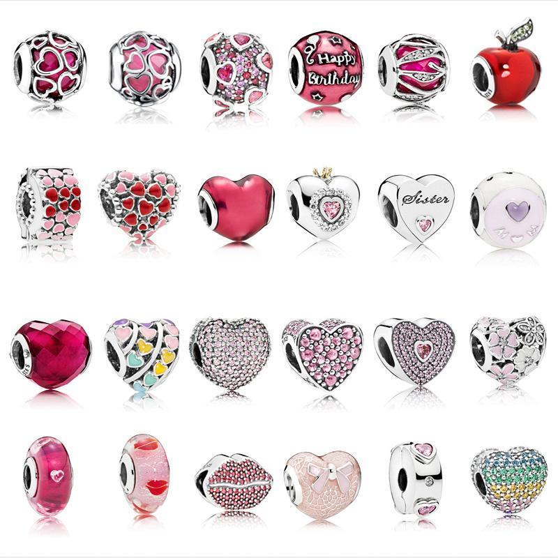 Сердце бусины стерлингового серебра 925 Fit оригинальный Пандора браслет ожерелье серебро 925 розовый Циркон рождественские бусины Модные украшения a18994#