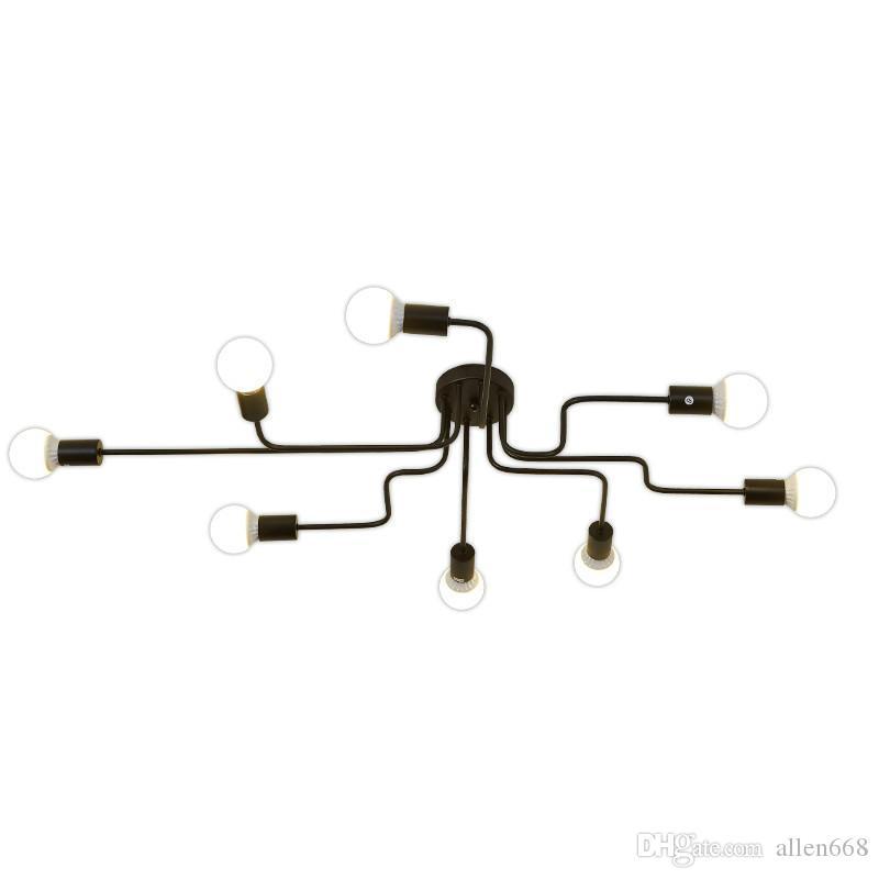 Vintage Deckenleuchten für Wohnzimmer Beleuchtung Leuchte Mehrere Rod Schmiedeeisen E27 Deckenleuchte Leuchten Glanz luminiare
