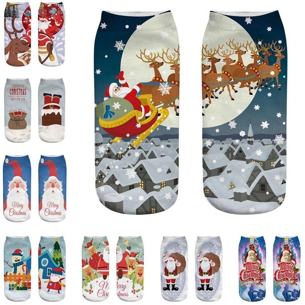 Christmas unisex Casual Work Business Socks 3D Christmas Santa Elk Printing Medium Sports Socks winter socks #43