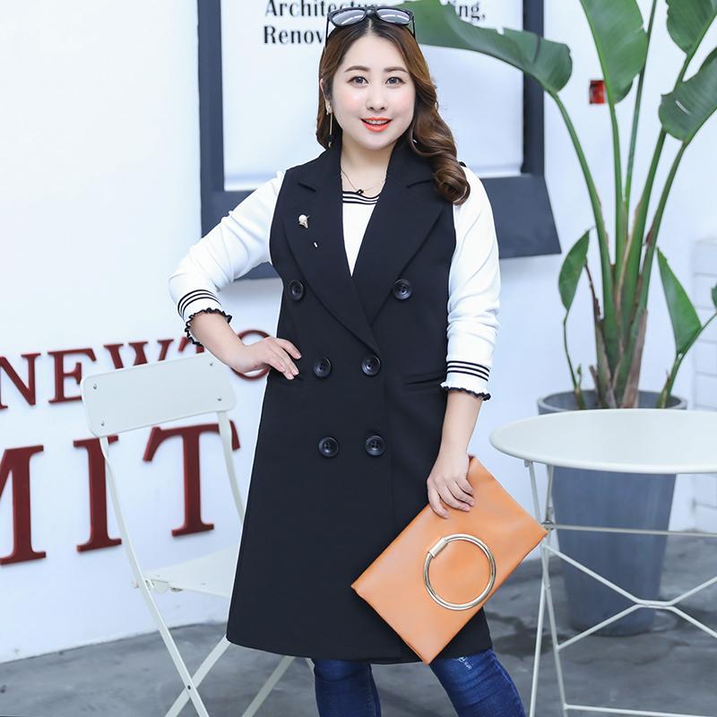 MINSUNDA 플러스 사이즈 오픈 프런트 조끼 코트 여성 슬리브리스 레귤러 피트 노치 아우터웨어 여성용 더블 버튼 체크 무늬 조끼 블레이저