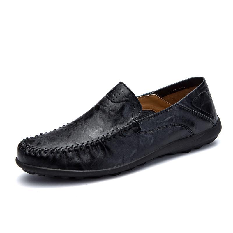 Herren Schuhe echte Kuh-Leder-Mokassin-Slipper Tenis Masculino Adulto Handgemachte Slip-on-Wohnung Bootsschuhe Männerschuhe Größe 38-47