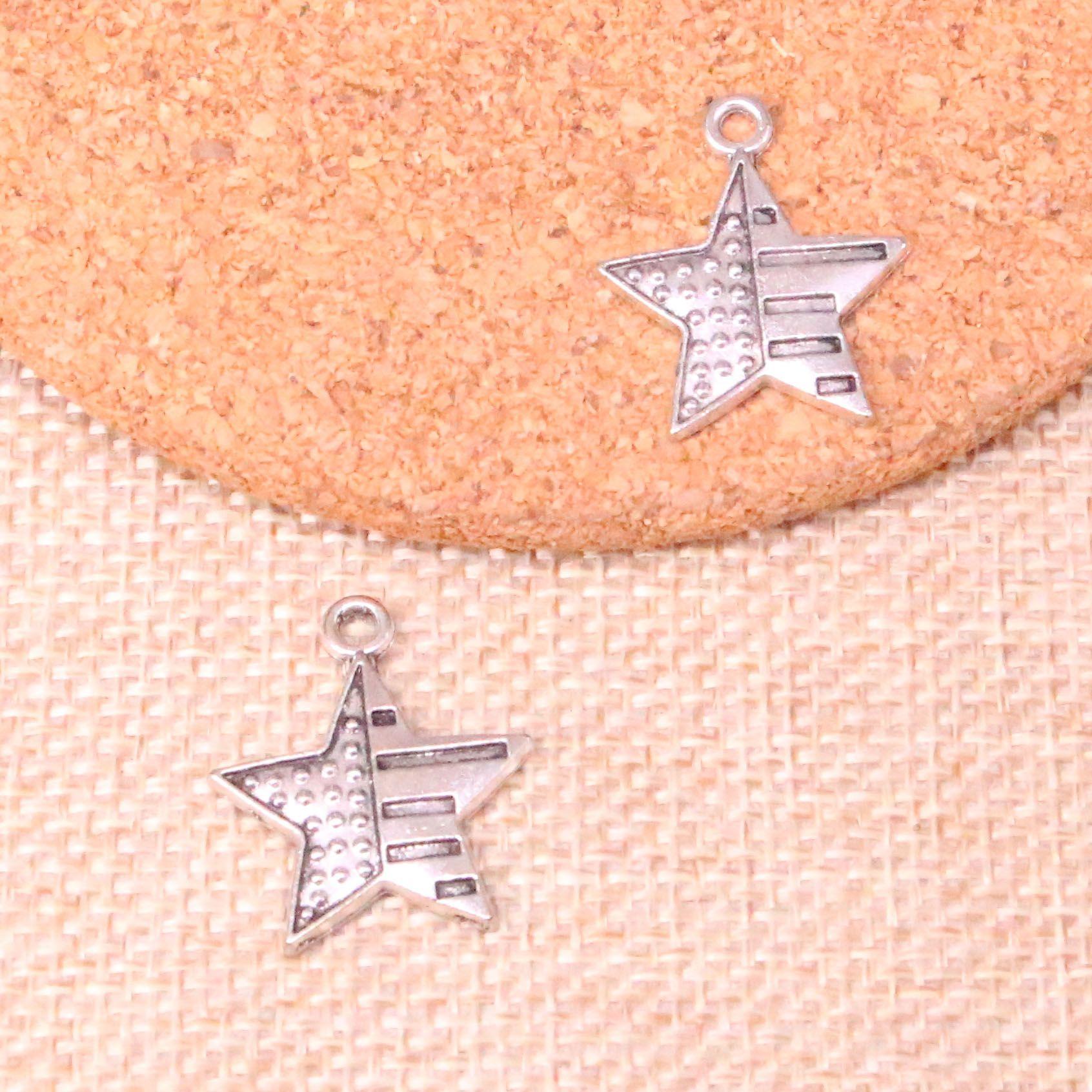 86pcs Charme-USA-Flagge Stern 23 * 20mm Antike, die Anhänger fit, Jahrgang Tibetischen Silber, DIY Handgemachter Schmuck