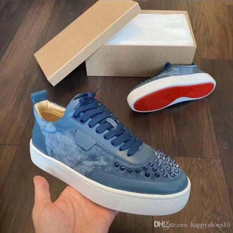 Red Bottoms shoes Studded Spikes Flat sneakers For Men Women glitter Party Lovers shoe Genuine Leather casual rivet Sneaker K2F