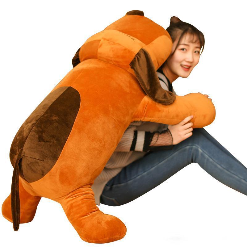 귀여운 강아지 봉제 장난감 소녀 레저 부드러운 수면 베개 헝겊 인형 긴 베개 생일 선물 43inch의 110cm