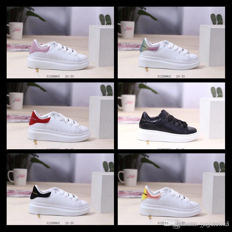 2020 kids Black white red Luxury Fashion Designers Shoes Gold Low Cut Leather Flat designerss Casual sneakers 24-35