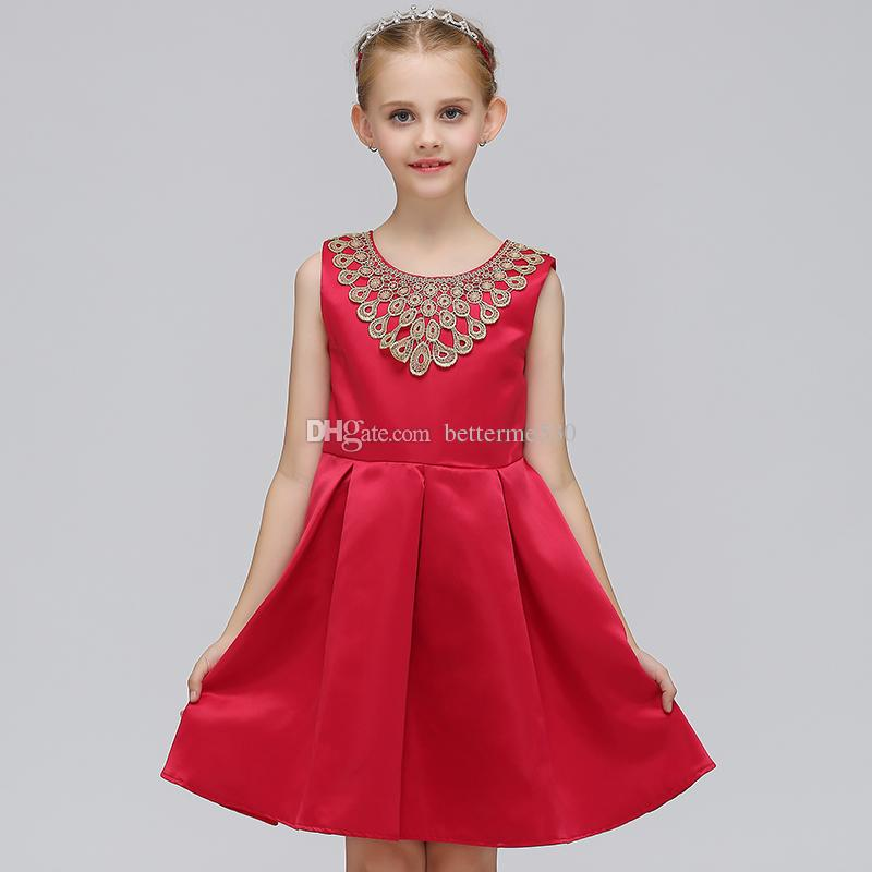 Elegant Trendy Girls Summer Party Dress Fancy Children Girls Flower Girls Dress With BowPhnom Penh Lace Dress European and American