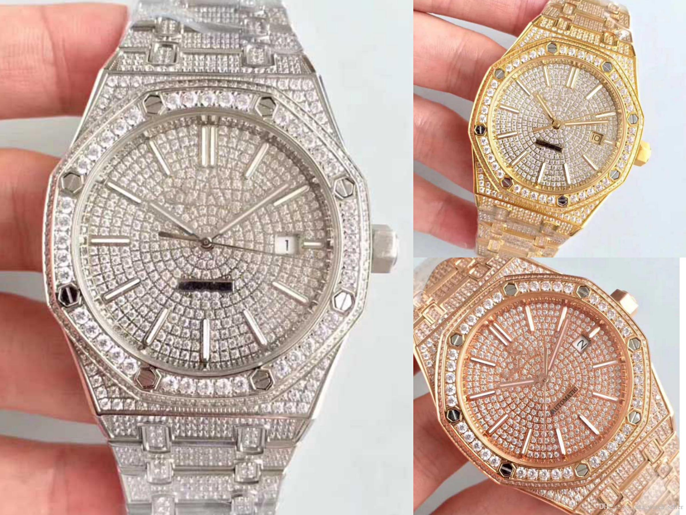 3 Стили Полный Алмазный Дизайнер часы Master Royal Oak 15500ST 15400 Gold автоматические часы мужские швейцарские часы Лучшие качества мужские наручные часы