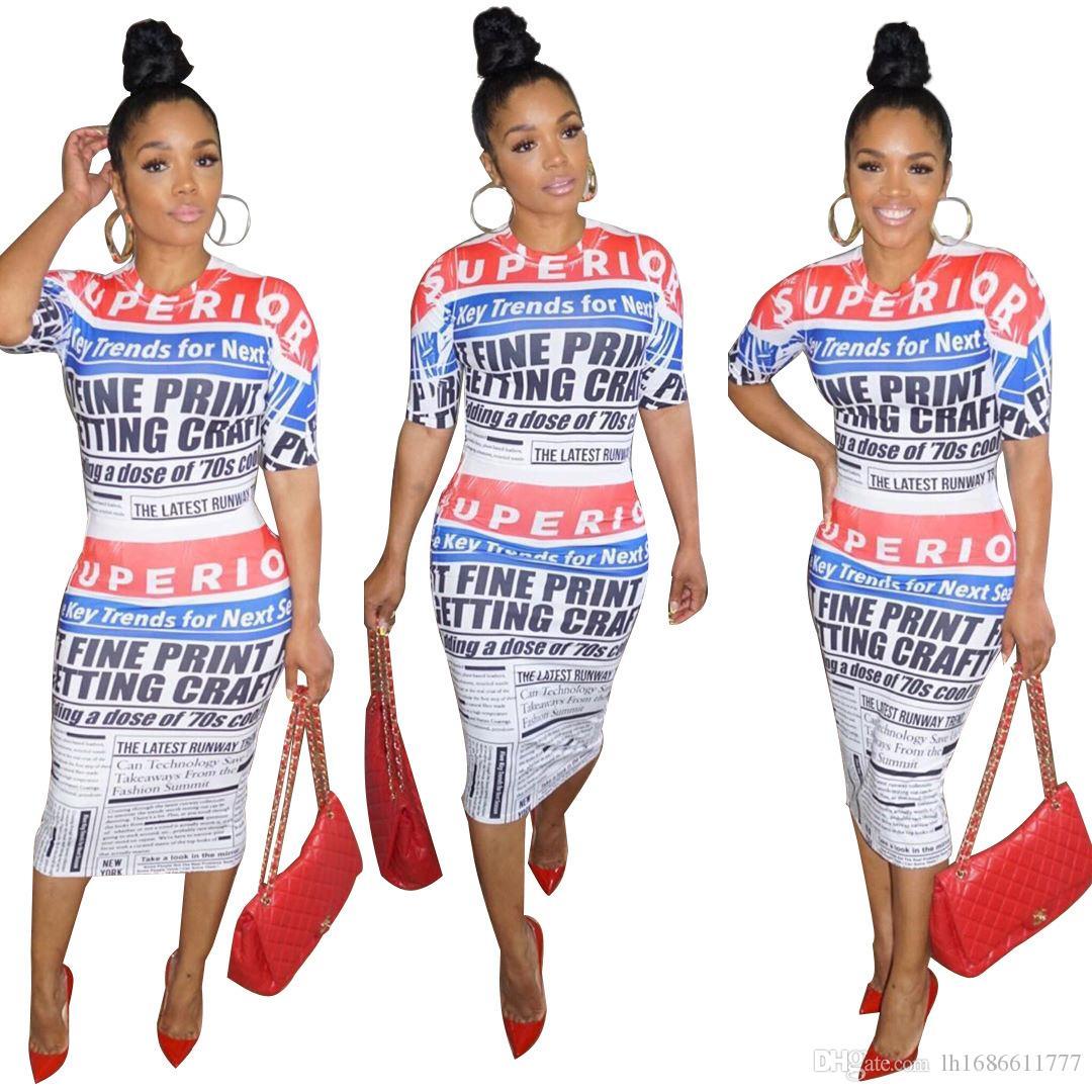 Vestido de lápiz de verano para mujer 2019 Vestido de bodycon con estampado de letras de manga corta para mujer Vestidos de fiesta de noche de club sexy y delgado