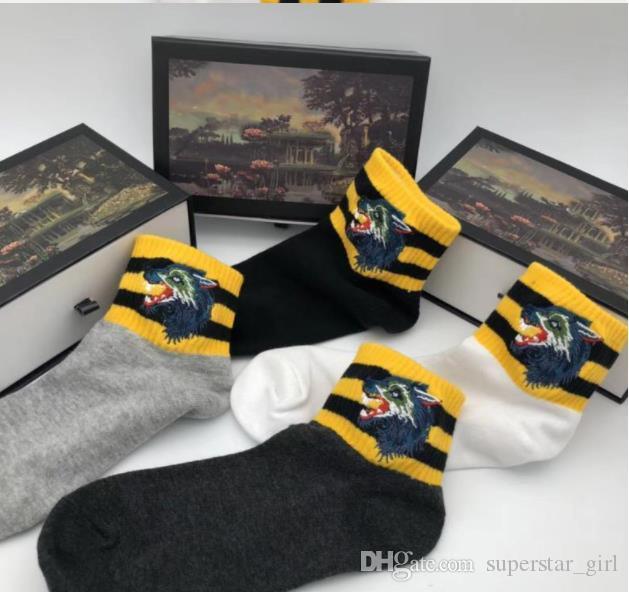 Erkekler için Spor Çorap Yeni Marka Işlemeli Kaplan Kurt Başkanı Çizgili Nakış Elastik Unisex Pamuk 4 Pairs Spor Çorap Kutusu Ile